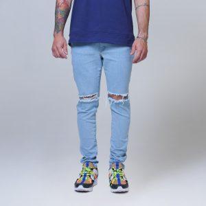 Calça Masc Jeans Skinny Azul Rasgo Joelho