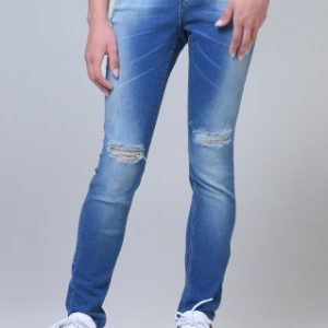 Calça Fem Jeans Skinny Rasgada Azul