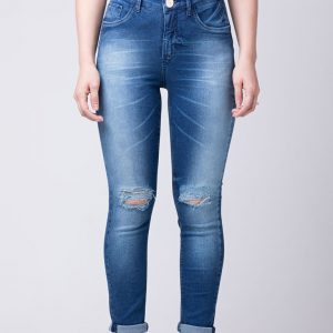 Calça Fem Jeans Skinny Azul Rasgo